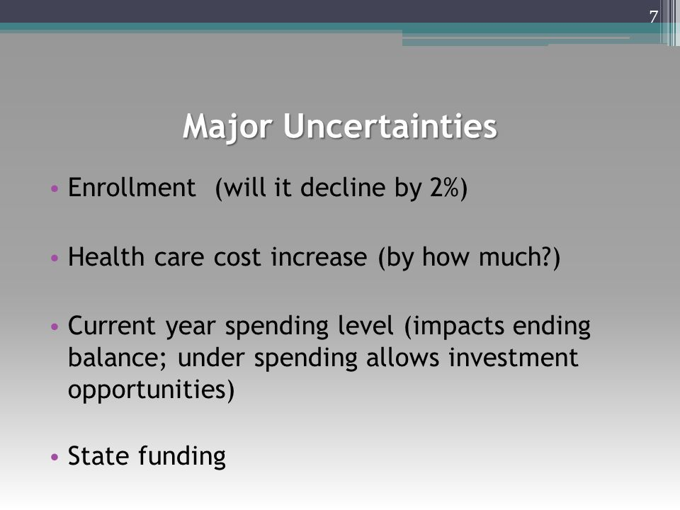 Major Uncertainties Enrollment (will it decline by 2%) Health care cost increase (by how much ) Current year spending level (impacts ending balance; under spending allows investment opportunities) State funding 7