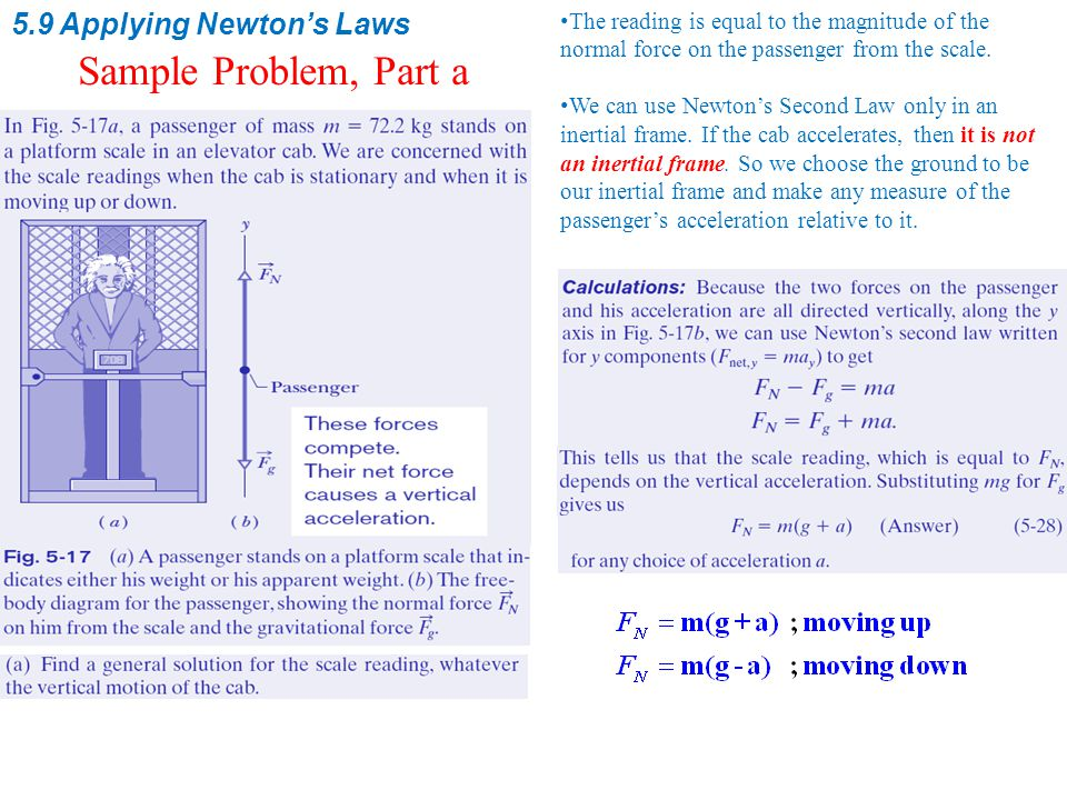 5.9 Applying Newton's Laws Sample Problem, Part a The reading is equal to the magnitude of the normal force on the passenger from the scale.