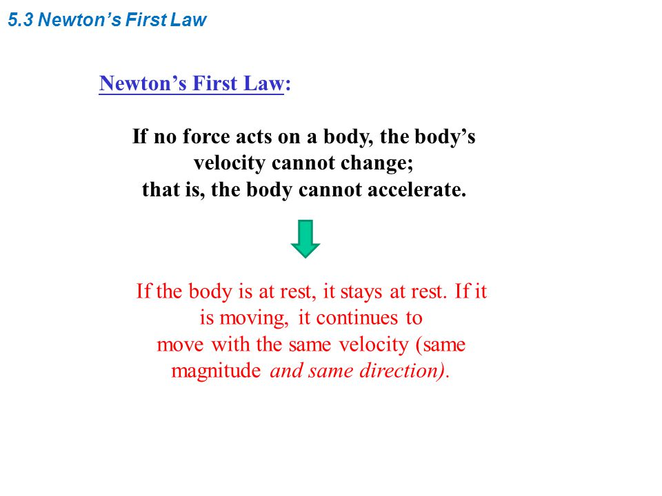 5.3 Newton's First Law Newton's First Law: If no force acts on a body, the body's velocity cannot change; that is, the body cannot accelerate. If the