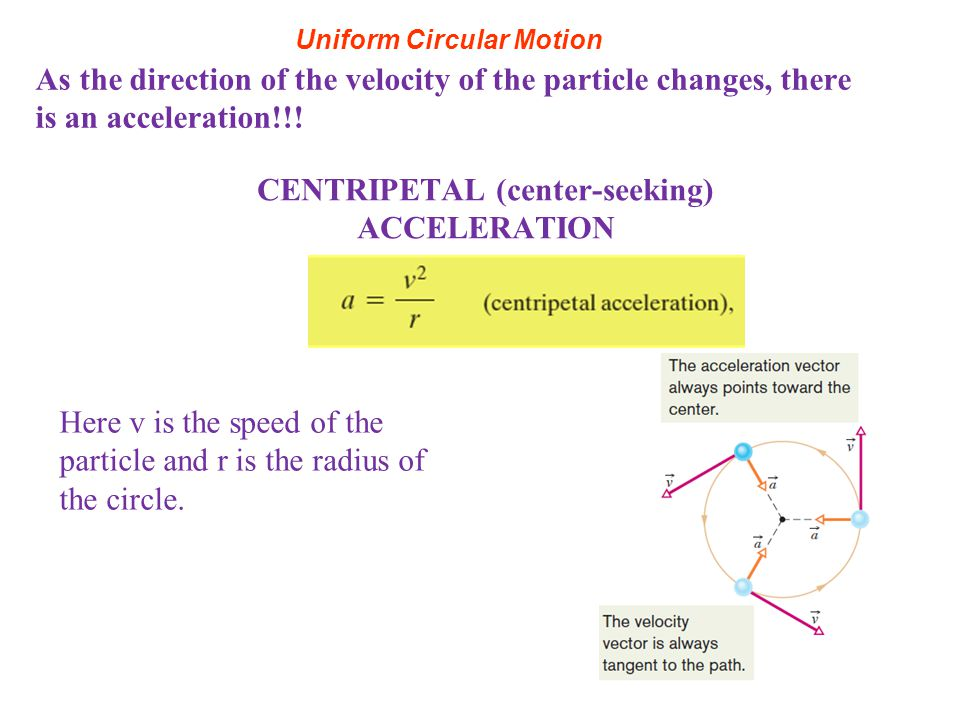 Uniform Circular Motion As the direction of the velocity of the particle changes, there is an acceleration!!! CENTRIPETAL (center-seeking) ACCELERATIO