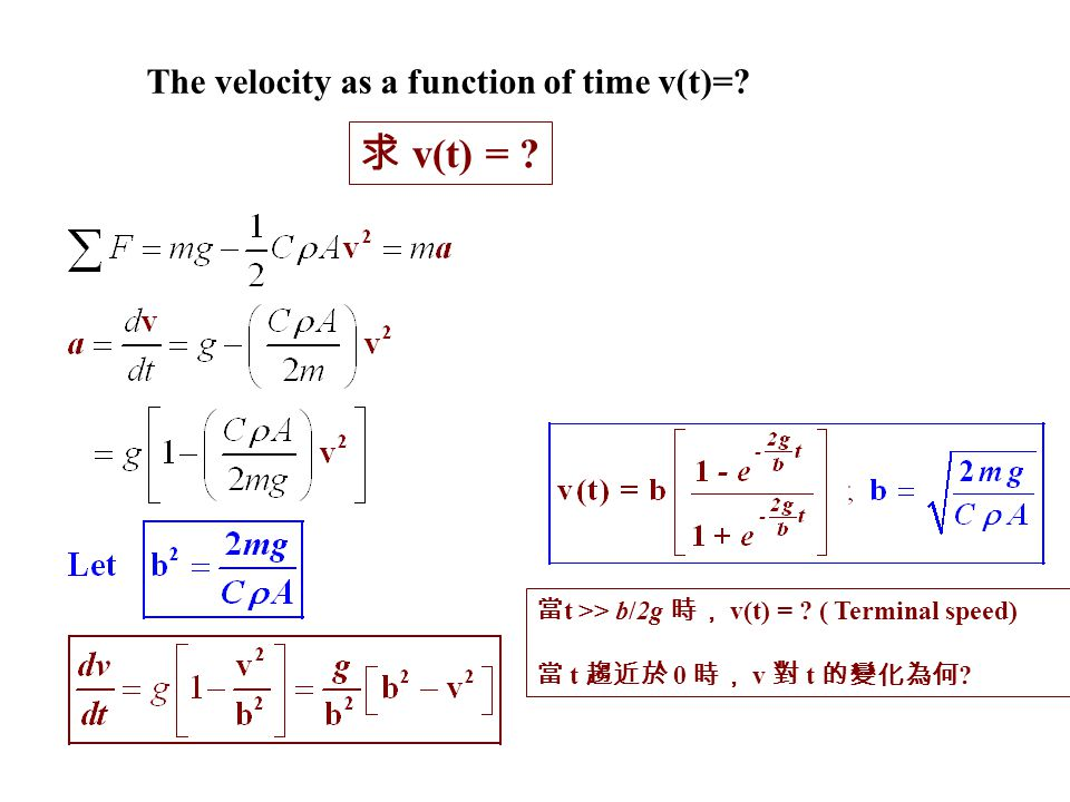 求 v(t) = ? 當 t >> b/2g 時, v(t) = ? ( Terminal speed) 當 t 趨近於 0 時, v 對 t 的變化為何 ? The velocity as a function of time v(t)=?