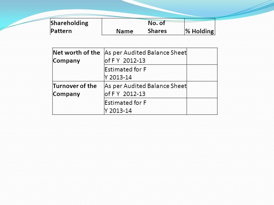 Shareholding PatternName No. of Shares % Holding Net worth of the Company As per Audited Balance Sheet of F Y 2012-13 Estimated for F Y 2013-14 Turnov