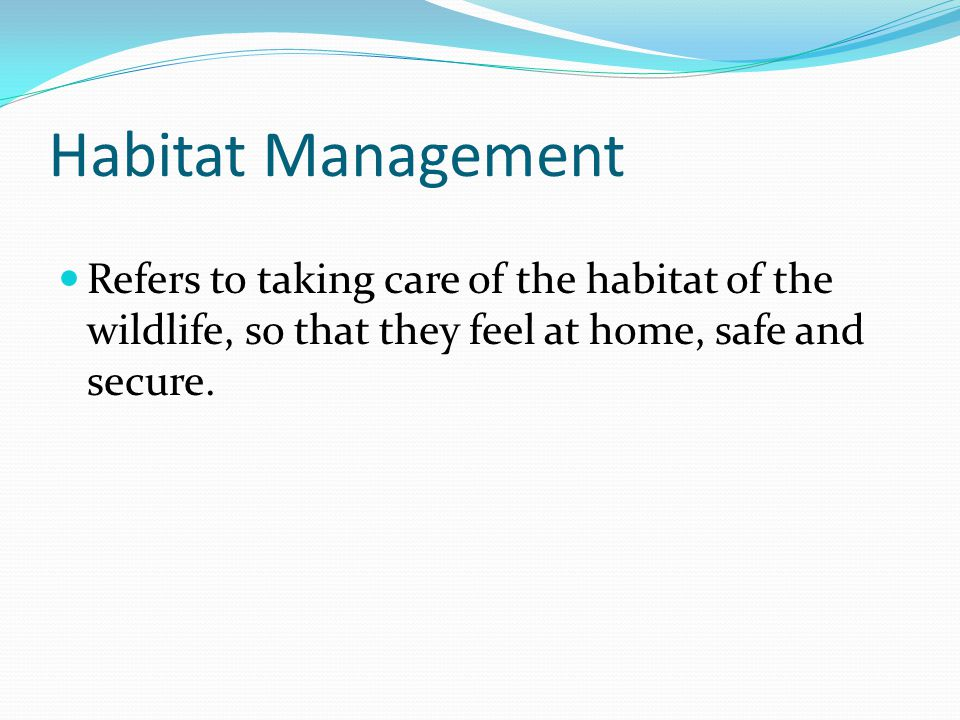 Habitat Management Refers to taking care of the habitat of the wildlife, so that they feel at home, safe and secure.