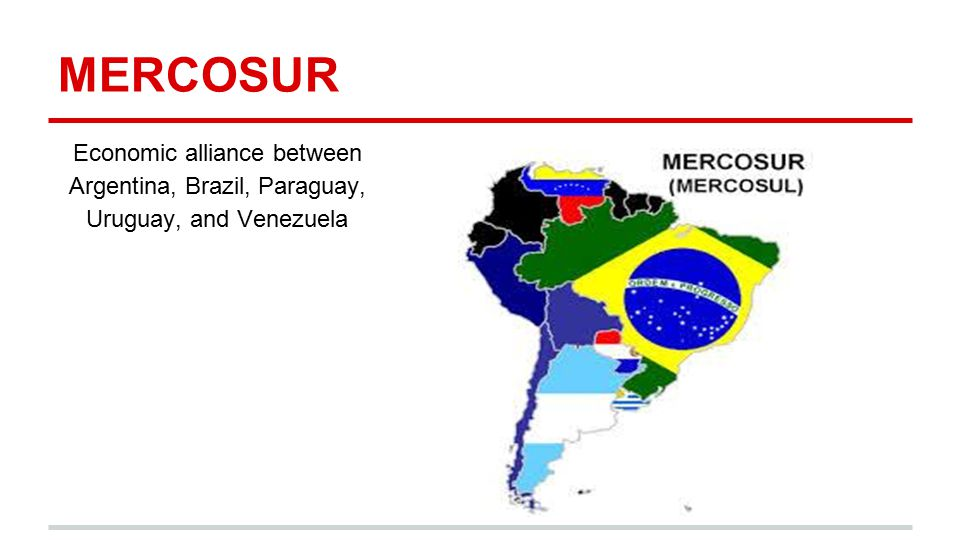 MERCOSUR Economic alliance between Argentina, Brazil, Paraguay, Uruguay, and Venezuela