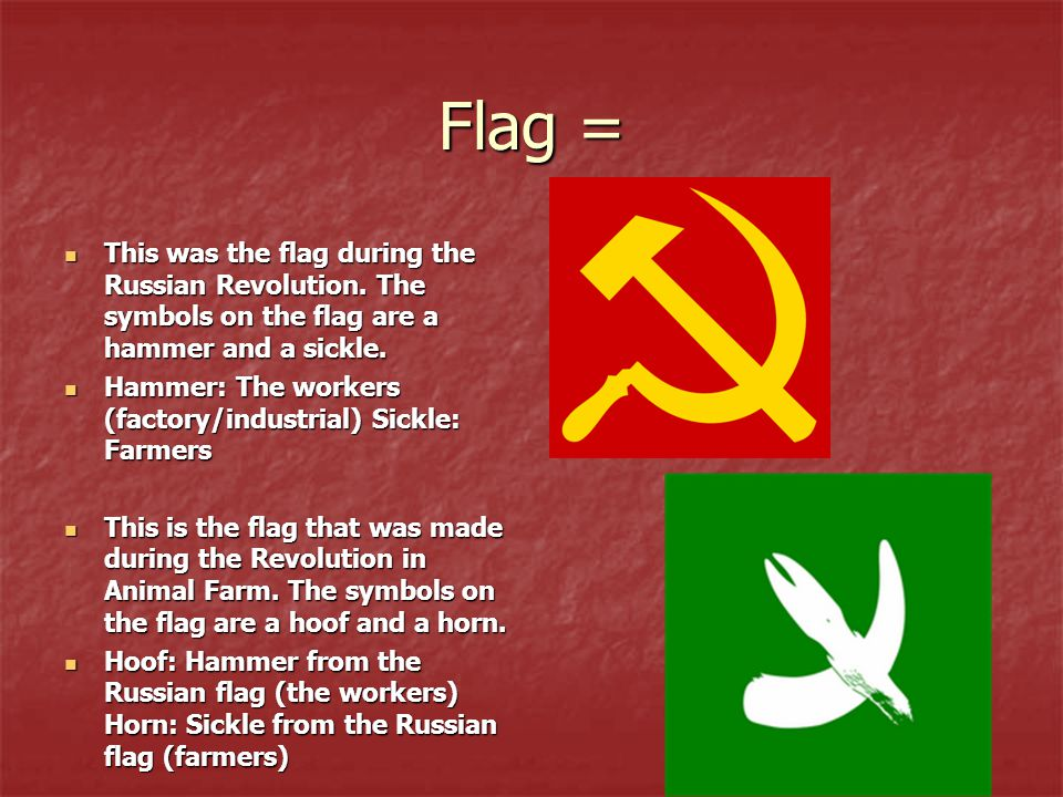 Flag = This was the flag during the Russian Revolution. The symbols on the flag are a hammer and a sickle. This was the flag during the Russian Revolu