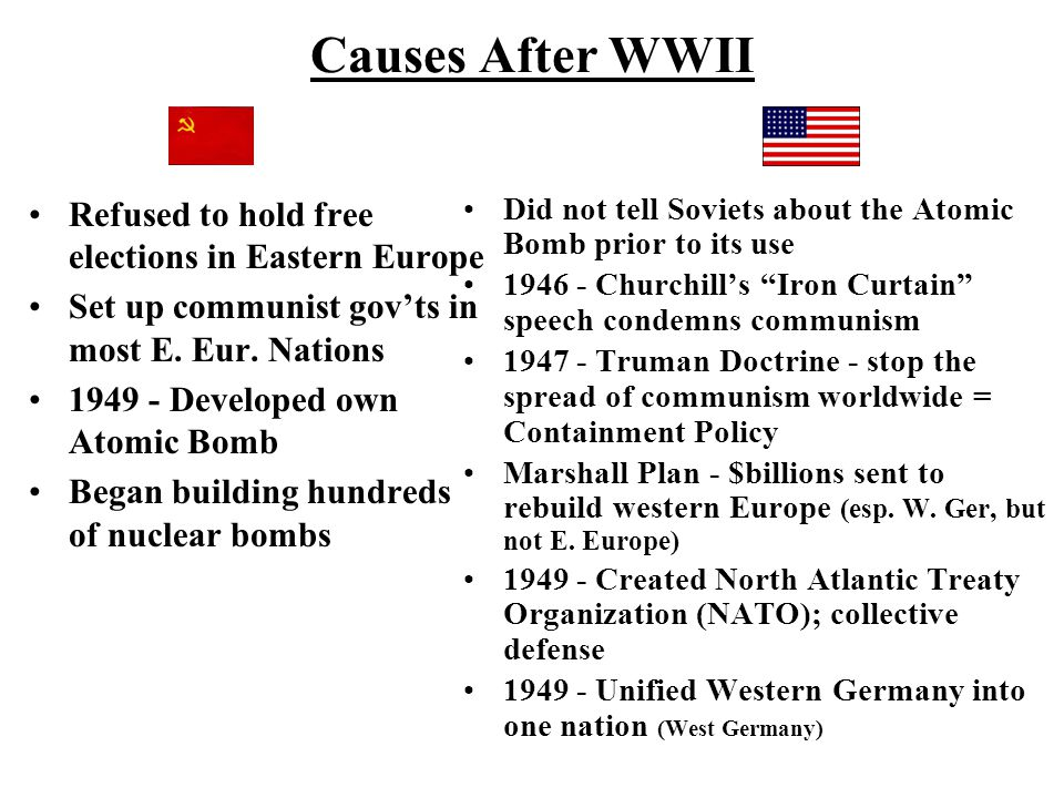 Causes After WWII Refused to hold free elections in Eastern Europe Set up communist gov'ts in most E. Eur. Nations 1949 - Developed own Atomic Bomb Be