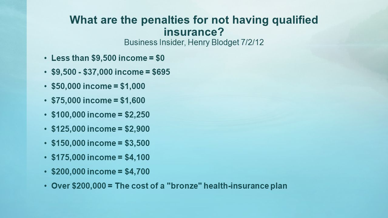 What are the penalties for not having qualified insurance.