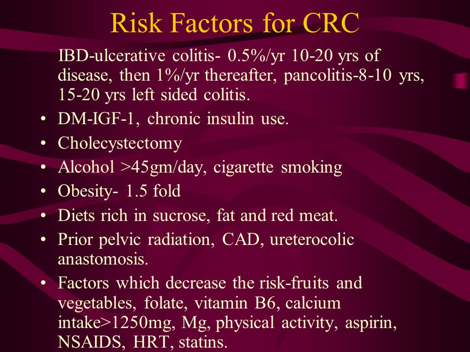 Risk Factors for CRC IBD-ulcerative colitis- 0.5%/yr 10-20 yrs of disease, then 1%/yr thereafter, pancolitis-8-10 yrs, 15-20 yrs left sided colitis. D