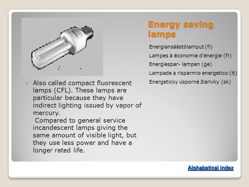 Energy saving lamps Energiansäästölamput (fi) Lampes à économie d énergie (fr) Energiespar- lampen (ge) Lampade a risparmio energetico (it) Energeticky úsporné žiarivky (sk) Also called compact fluorescent lamps (CFL).