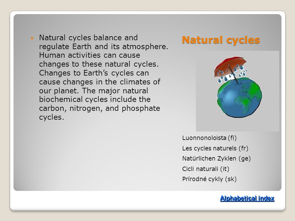Natural cycles Luonnonoloista (fi) Les cycles naturels (fr) Natürlichen Zyklen (ge) Cicli naturali (it) Prírodné cykly (sk) Natural cycles balance and regulate Earth and its atmosphere.