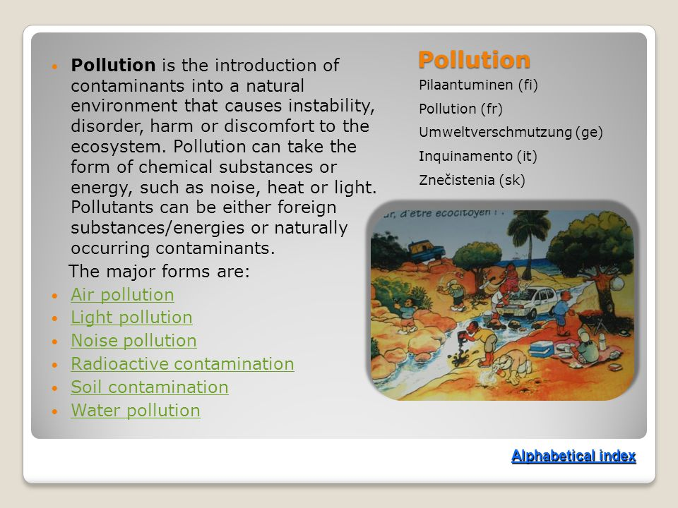 Pollution Pilaantuminen (fi) Pollution (fr) Umweltverschmutzung (ge) Inquinamento (it) Znečistenia (sk) Pollution is the introduction of contaminants into a natural environment that causes instability, disorder, harm or discomfort to the ecosystem.