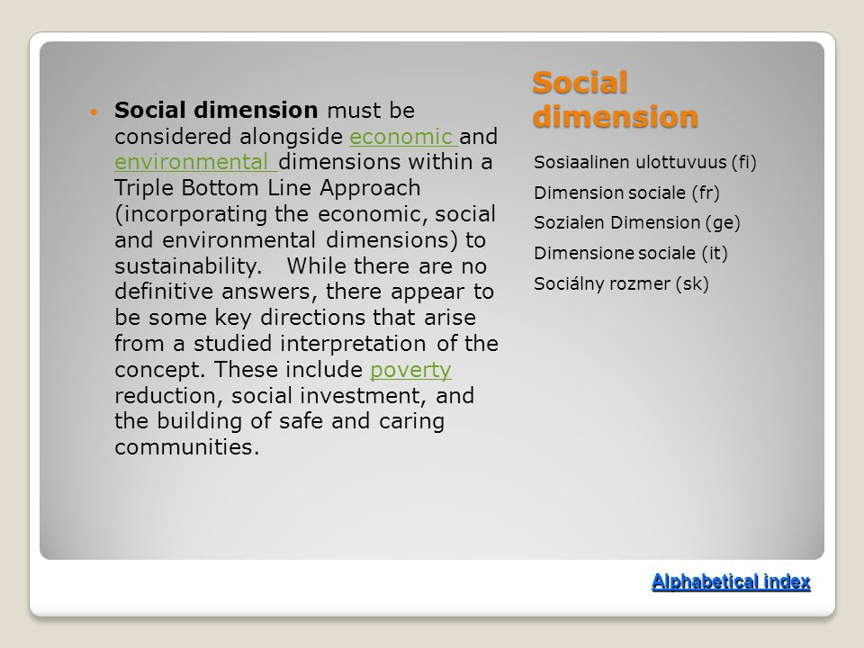 Social dimension Sosiaalinen ulottuvuus (fi) Dimension sociale (fr) Sozialen Dimension (ge) Dimensione sociale (it) Sociálny rozmer (sk) Social dimension must be considered alongside economic and environmental dimensions within a Triple Bottom Line Approach (incorporating the economic, social and environmental dimensions) to sustainability.