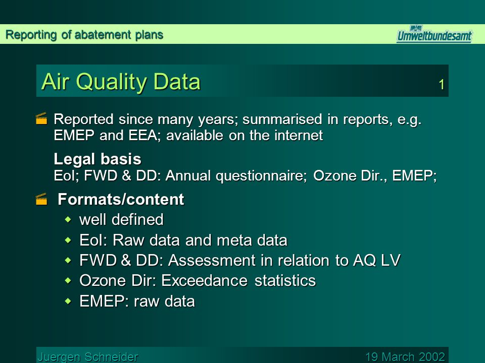 Reporting of abatement plans Juergen Schneider 19 March 2002 Air Quality Data 1  Reported since many years; summarised in reports, e.g.