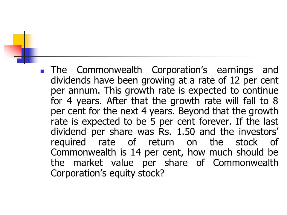The Commonwealth Corporation's earnings and dividends have been growing at a rate of 12 per cent per annum.