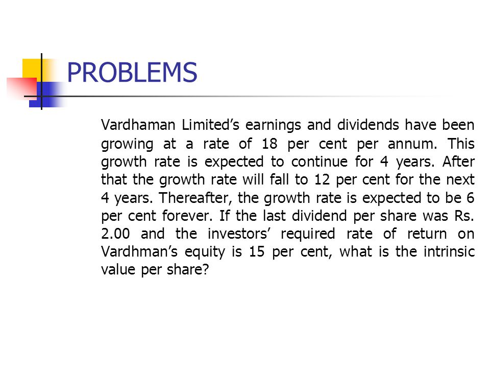 PROBLEMS Vardhaman Limited's earnings and dividends have been growing at a rate of 18 per cent per annum.