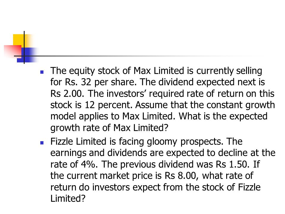 The equity stock of Max Limited is currently selling for Rs.