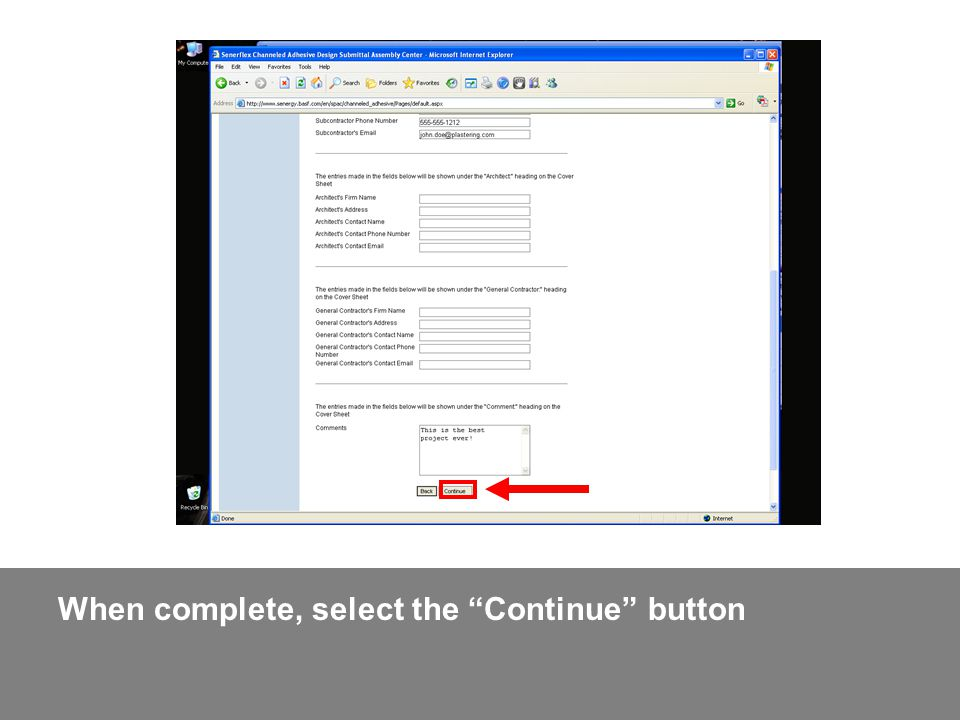 When complete, select the Continue button