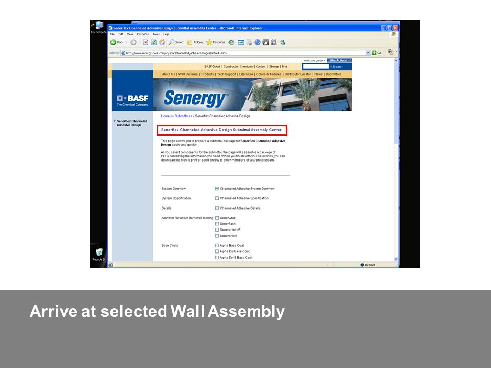 Arrive at selected Wall Assembly