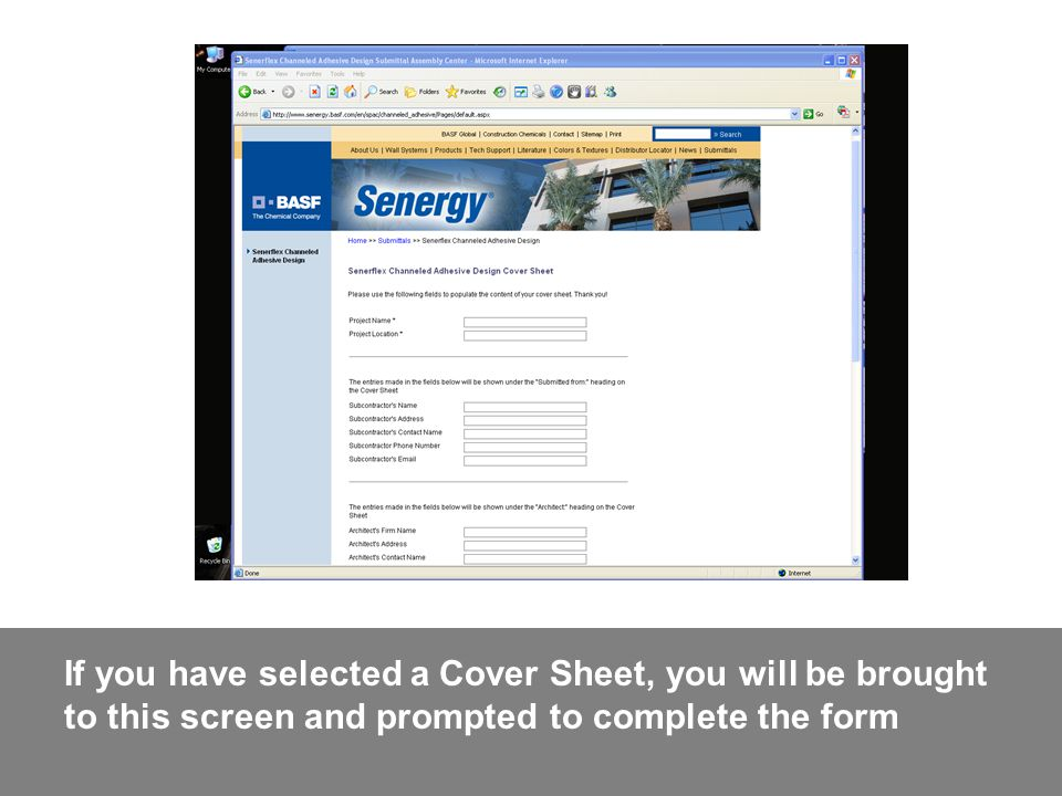 If you have selected a Cover Sheet, you will be brought to this screen and prompted to complete the form