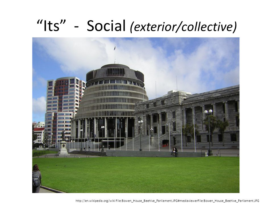 Its - Social (exterior/collective) http://en.wikipedia.org/wiki File:Bowen_House_Beehive_Parliament.JPG#mediaviewerFile:Bowen_House_Beehive_Parliament.JPG