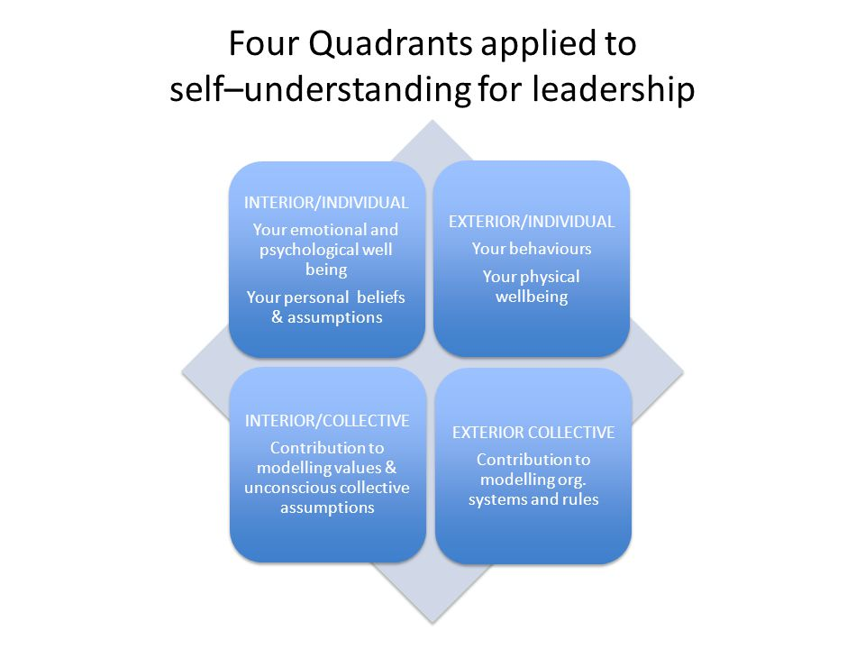 Four Quadrants applied to self–understanding for leadership INTERIOR/INDIVIDUAL Your emotional and psychological well being Your personal beliefs & assumptions EXTERIOR/INDIVIDUAL Your behaviours Your physical wellbeing INTERIOR/COLLECTIVE Contribution to modelling values & unconscious collective assumptions EXTERIOR COLLECTIVE Contribution to modelling org.