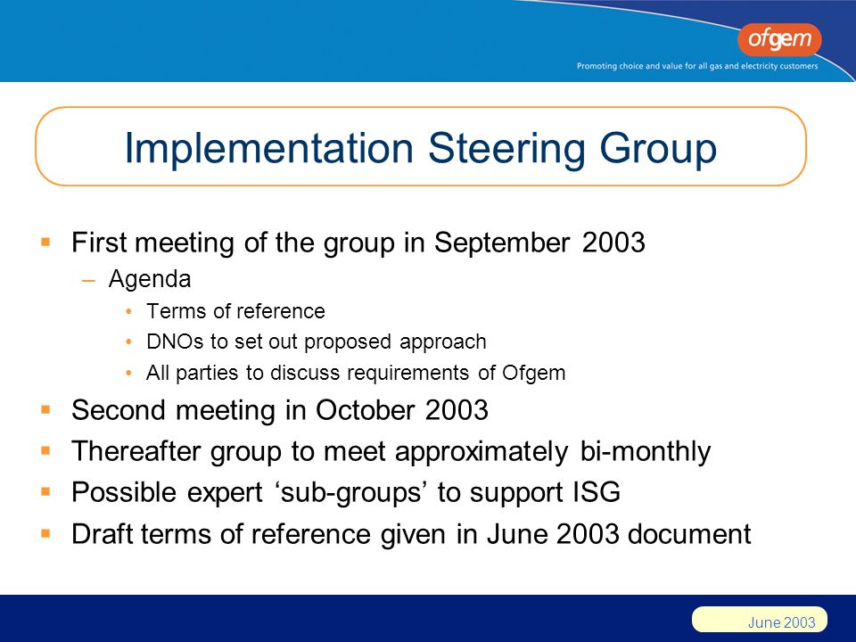 June 2003 Implementation Steering Group  First meeting of the group in September 2003 –Agenda Terms of reference DNOs to set out proposed approach All parties to discuss requirements of Ofgem  Second meeting in October 2003  Thereafter group to meet approximately bi-monthly  Possible expert 'sub-groups' to support ISG  Draft terms of reference given in June 2003 document