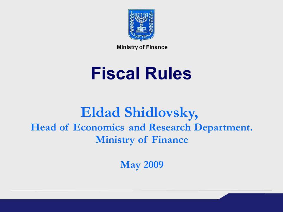 Fiscal Rules Eldad Shidlovsky, Head of Economics and Research Department.