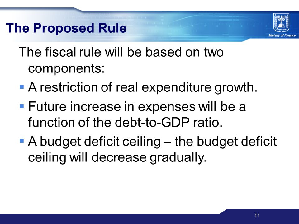 11 The Proposed Rule The fiscal rule will be based on two components:  A restriction of real expenditure growth.
