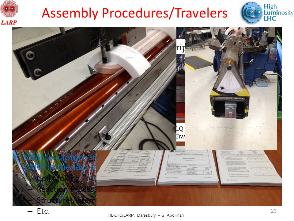 HL-LHC/LARP, Daresbury – G. Apollinari Cathode Strip Chambers Assembly Procedures/Travelers Vital to capture in written form all know-how matured in L