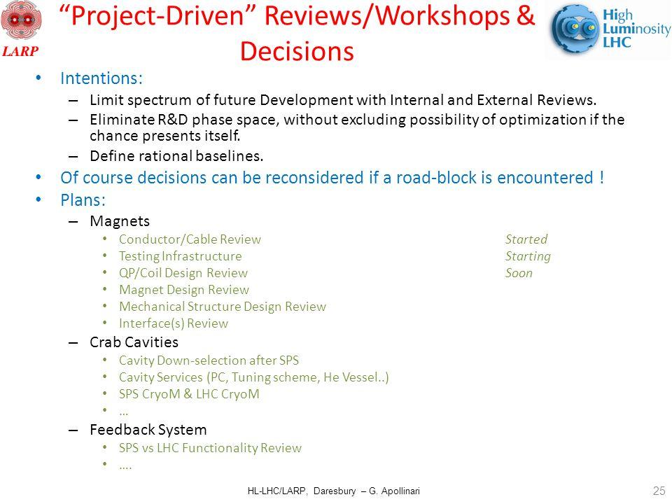 "HL-LHC/LARP, Daresbury – G. Apollinari ""Project-Driven"" Reviews/Workshops & Decisions Intentions: – Limit spectrum of future Development with Internal"