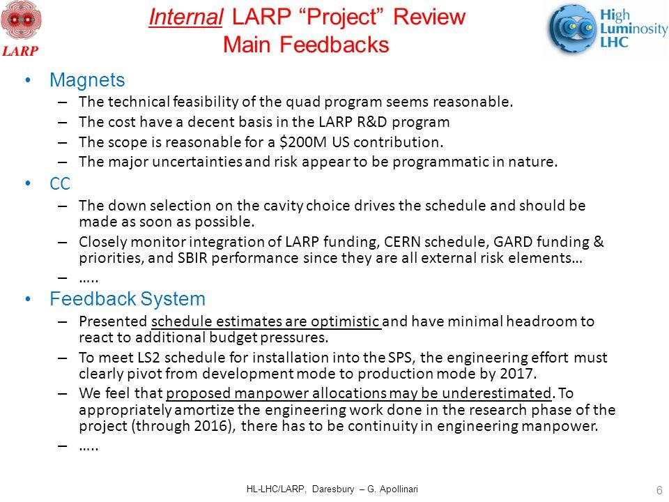"HL-LHC/LARP, Daresbury – G. Apollinari Internal LARP ""Project"" Review Main Feedbacks Magnets – The technical feasibility of the quad program seems rea"
