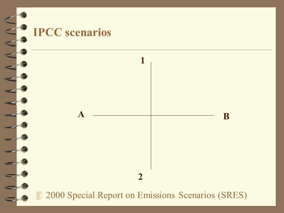 4 2000 Special Report on Emissions Scenarios (SRES) IPCC scenarios A B 1 2