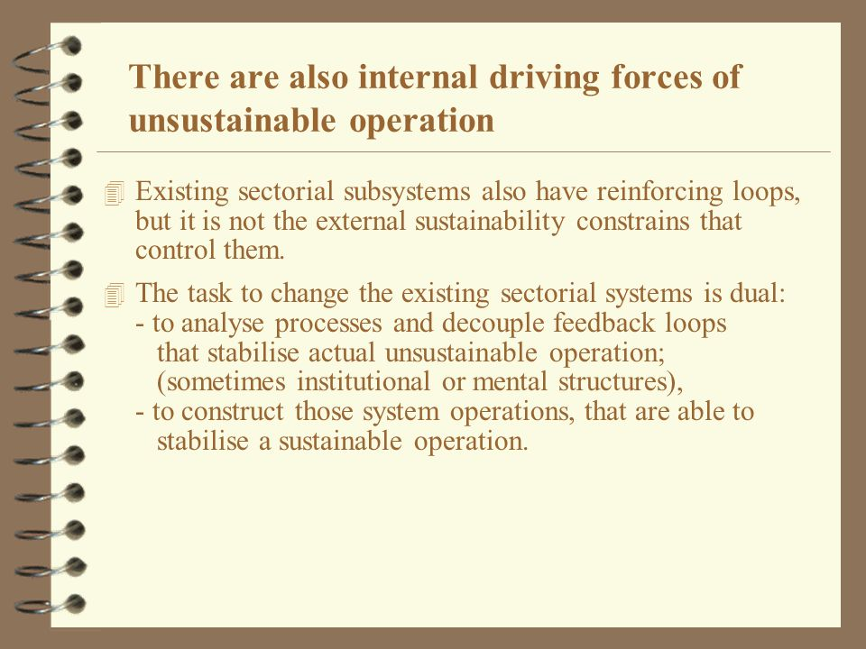 There are also internal driving forces of unsustainable operation 4 Existing sectorial subsystems also have reinforcing loops, but it is not the external sustainability constrains that control them.