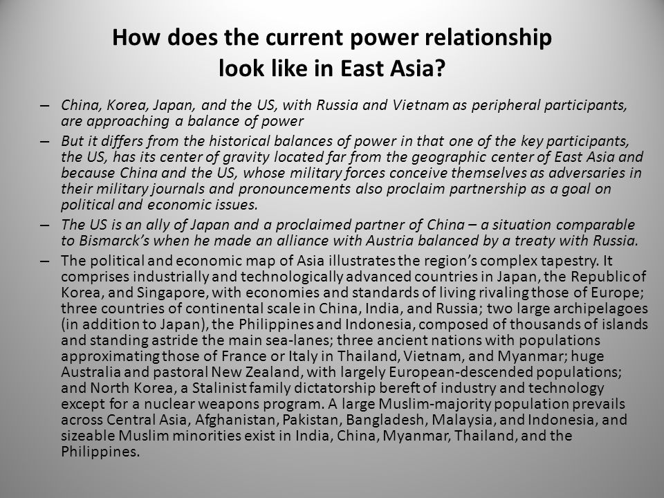 How does the current power relationship look like in East Asia? – China, Korea, Japan, and the US, with Russia and Vietnam as peripheral participants,