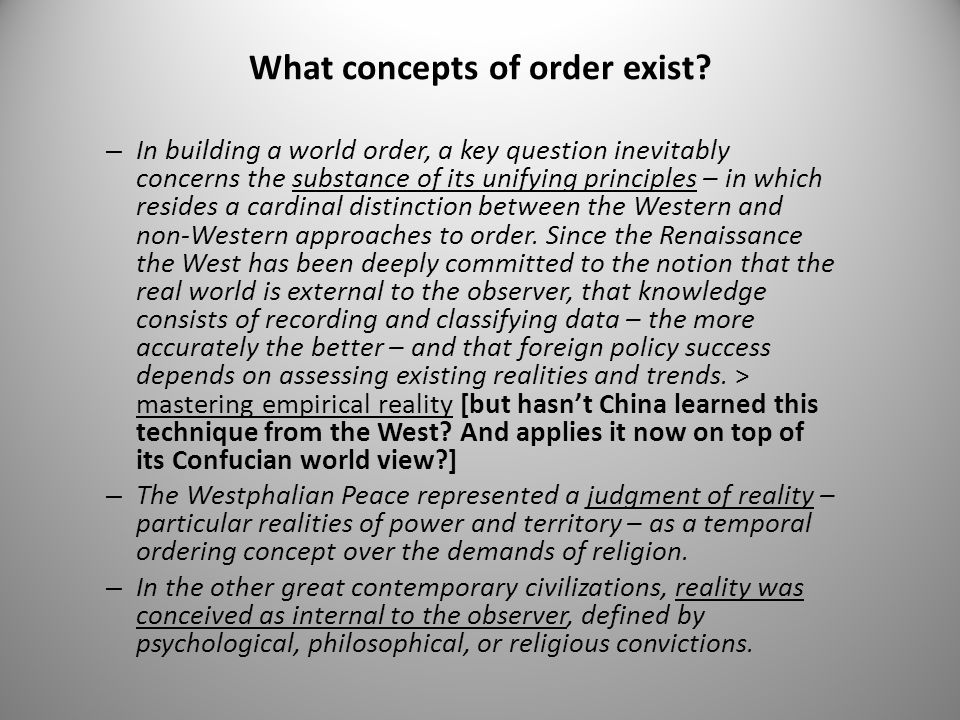 How is the current world order concept being threatened.