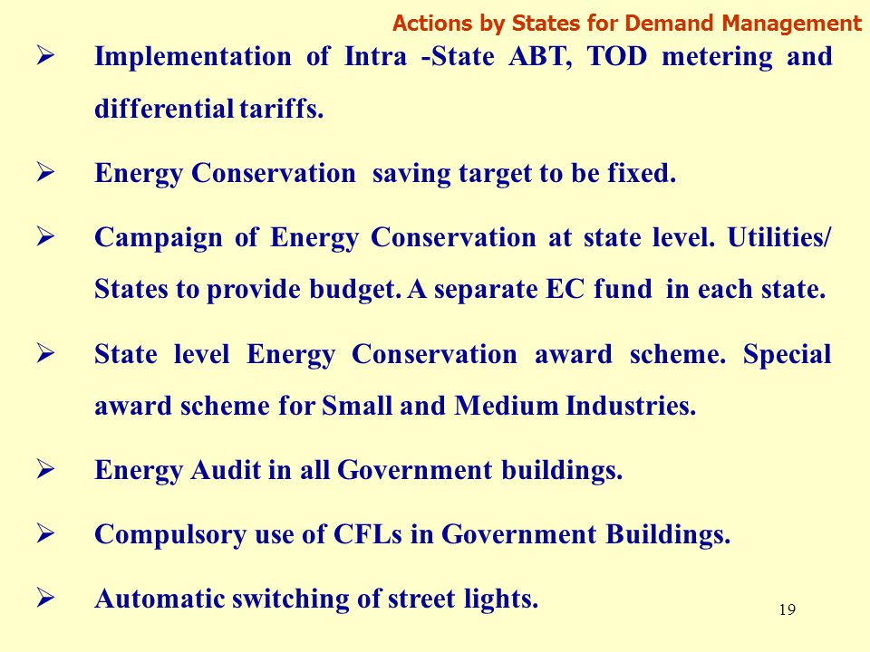 19 Actions by States for Demand Management  Implementation of Intra -State ABT, TOD metering and differential tariffs.