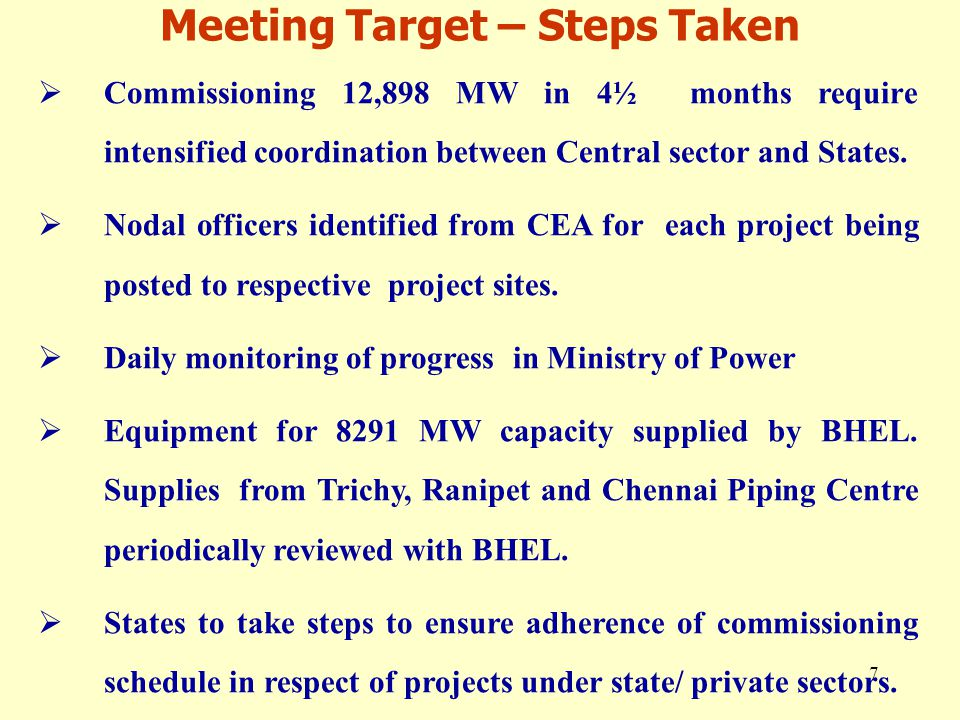 7 Meeting Target – Steps Taken  Commissioning 12,898 MW in 4½ months require intensified coordination between Central sector and States.