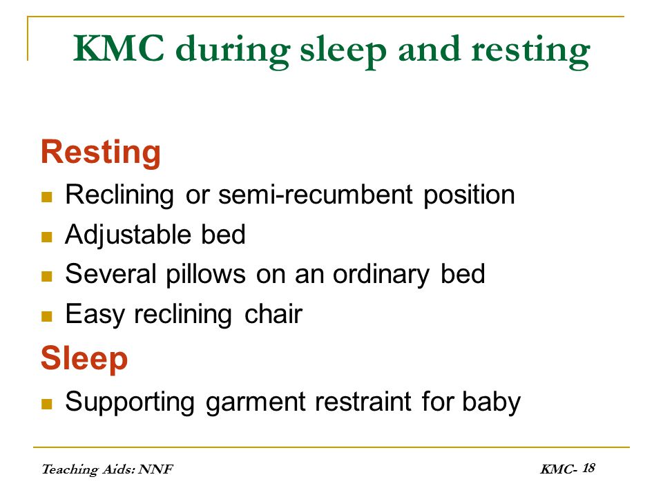 Teaching Aids: NNFKMC- 19 KMC during sleep