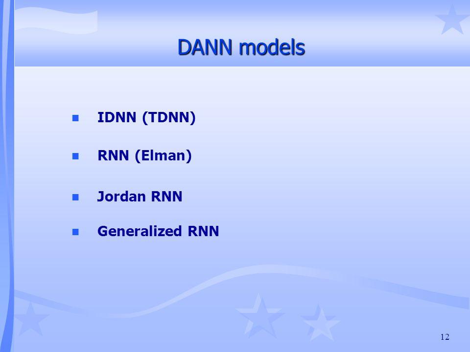 12 DANN models n IDNN (TDNN) n RNN (Elman) n Jordan RNN n Generalized RNN