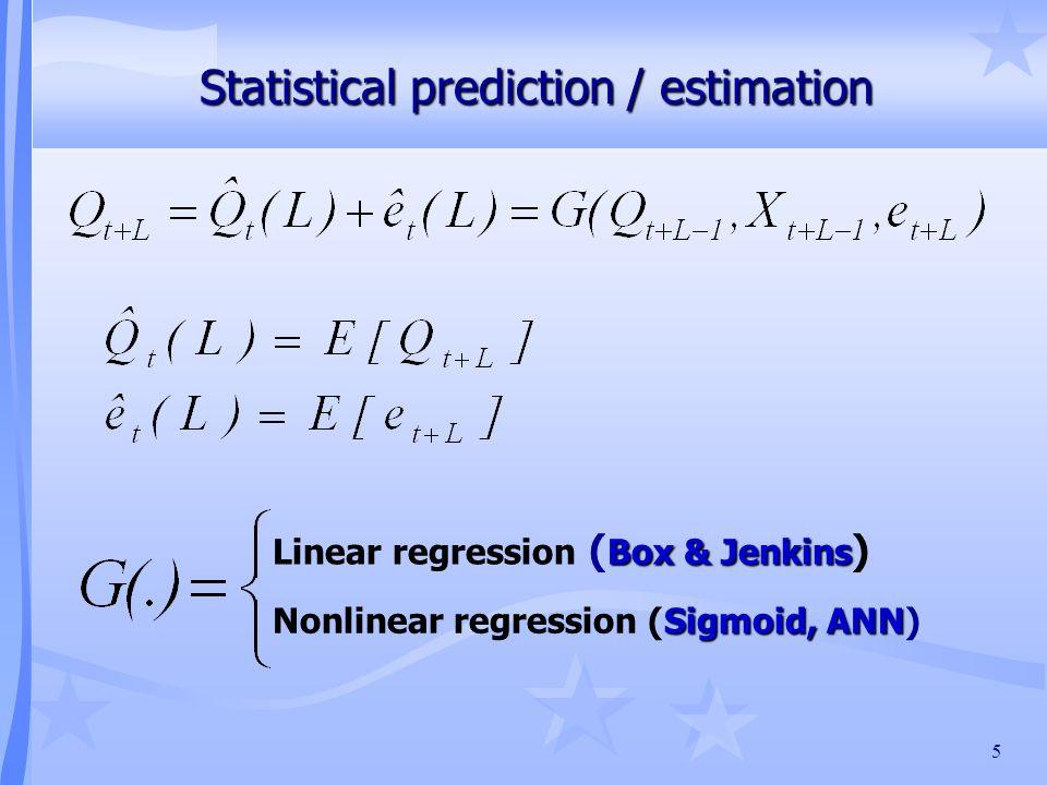 5 Statistical prediction / estimation Box & Jenkins Linear regression ( Box & Jenkins ) Sigmoid, ANN Nonlinear regression (Sigmoid, ANN)