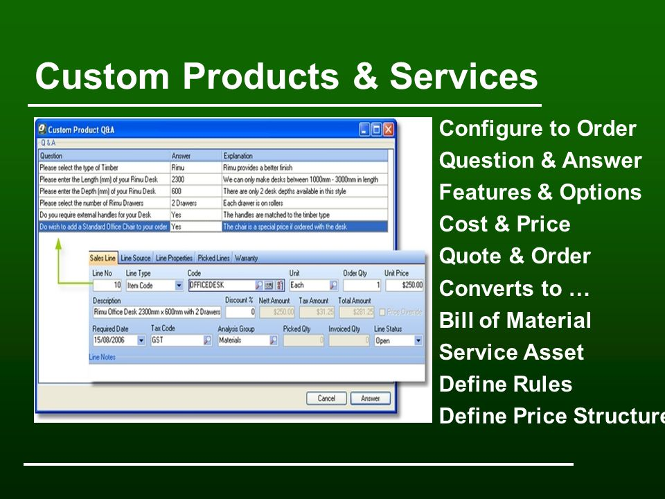 Custom Products & Services Configure to Order Question & Answer Features & Options Cost & Price Quote & Order Converts to … Bill of Material Service Asset Define Rules Define Price Structure