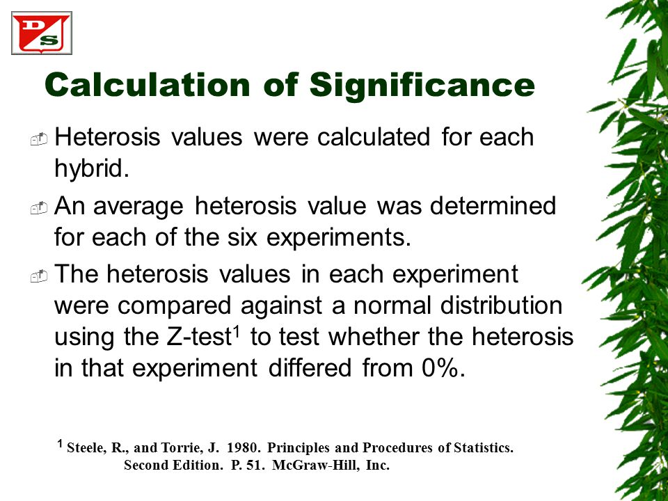 Calculation of Significance  Heterosis values were calculated for each hybrid.