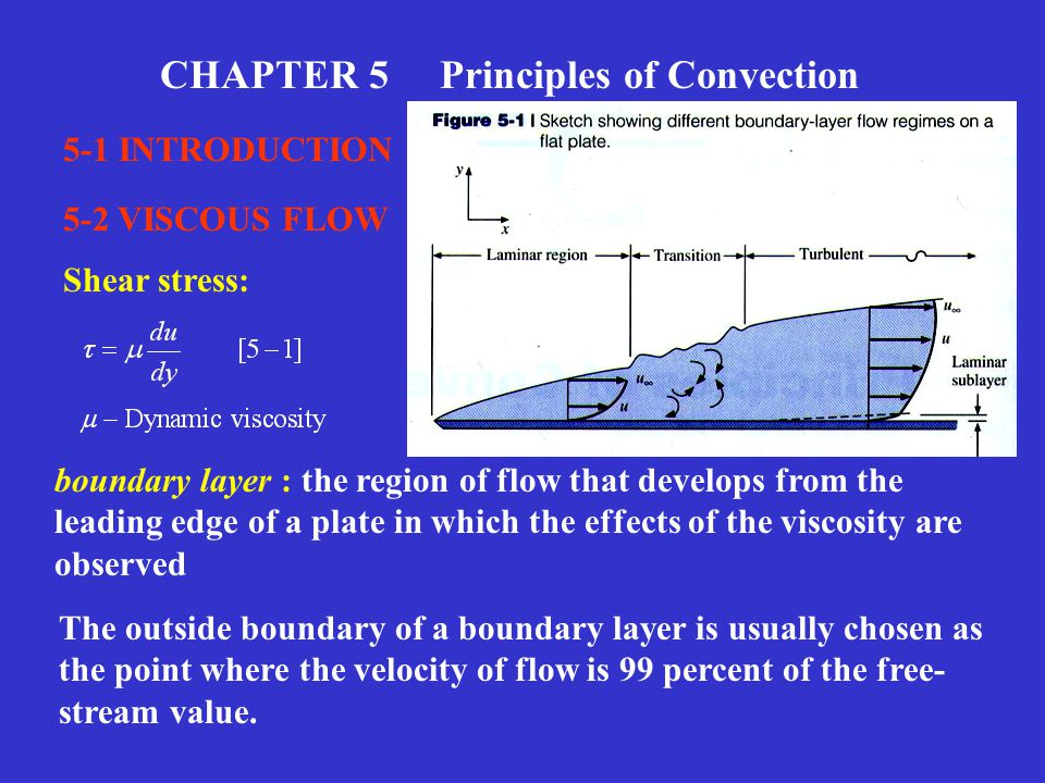 CHAPTER 5 Principles of Convection 5-1 INTRODUCTION 5-2 VISCOUS FLOW boundary layer : the region of flow that develops from the leading edge of a plat