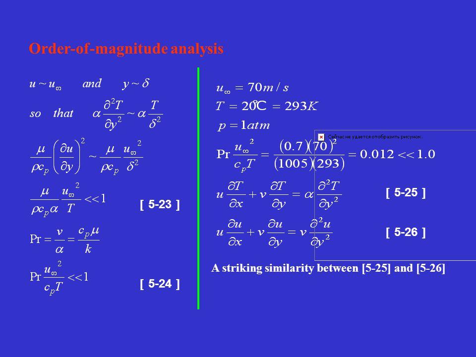 [ 5-24 ] [ 5-23 ] Order-of-magnitude analysis [ 5-25 ] [ 5-26 ] A striking similarity between [5-25] and [5-26]