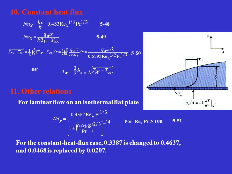 5-48 5-49 5-50 or For Re x Pr > 100 5-51 10. Constant heat flux 11. Other relations For laminar flow on an isothermal flat plate For the constant-heat