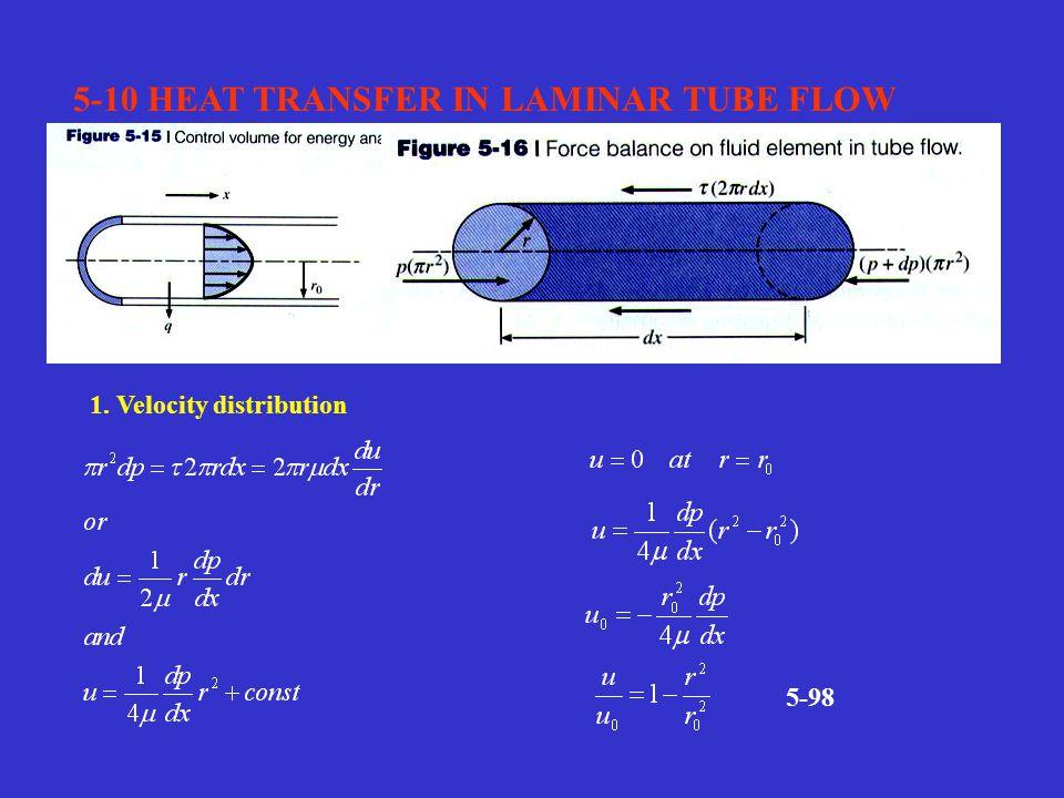5-10 HEAT TRANSFER IN LAMINAR TUBE FLOW 1. Velocity distribution 5-98