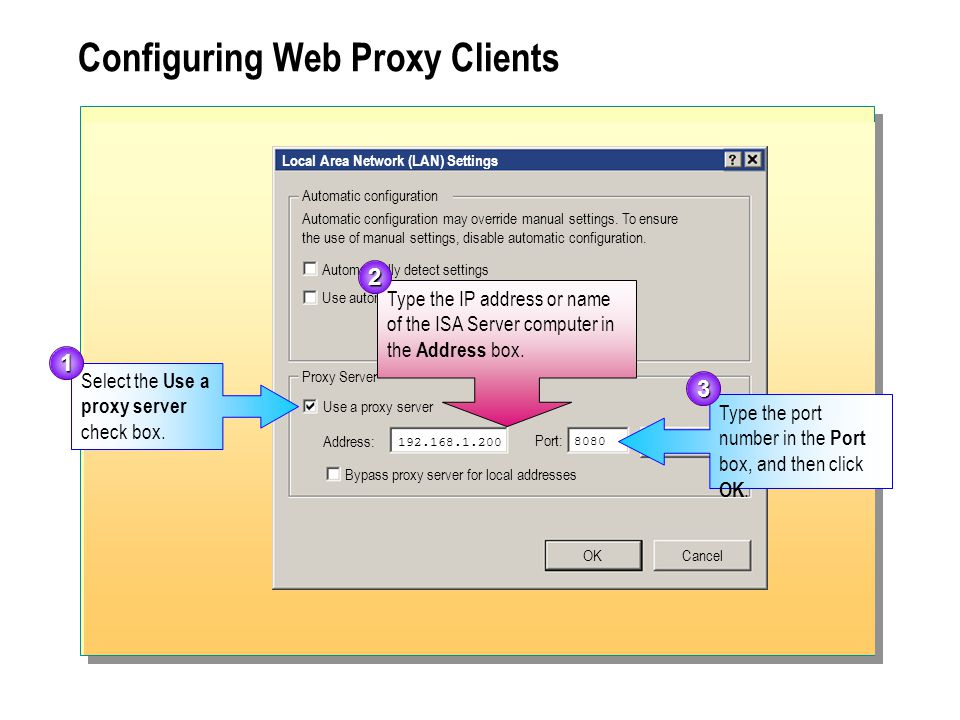 Configuring Web Proxy Clients Select the Use a proxy server check box. Type the port number in the Port box, and then click OK. 1 3 Local Area Network