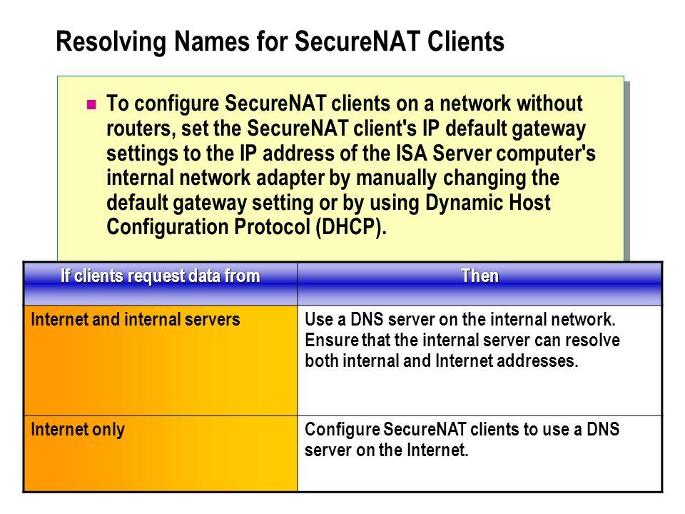 Resolving Names for SecureNAT Clients To configure SecureNAT clients on a network without routers, set the SecureNAT client's IP default gateway setti