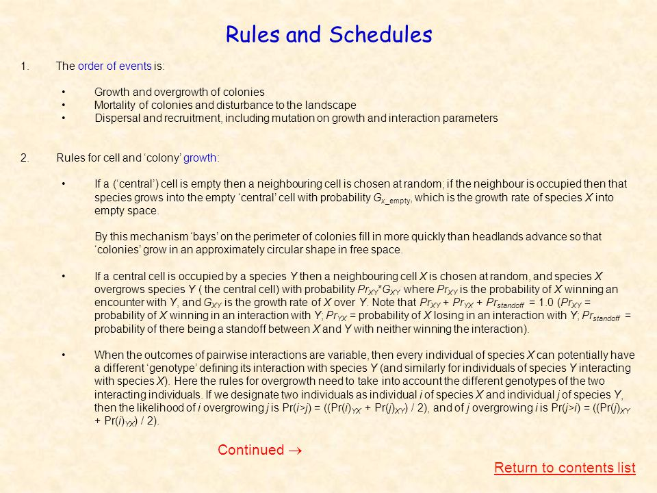 Rules and Schedules 1.