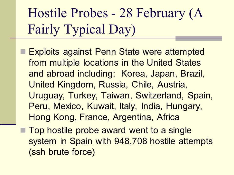Hostile Probes - 28 February (A Fairly Typical Day) Exploits against Penn State were attempted from multiple locations in the United States and abroad